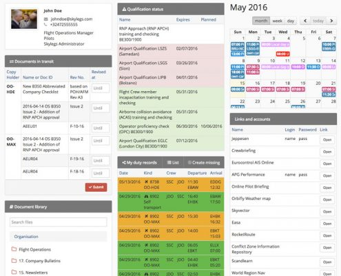 Dashboard page, where the user has an overview of activities and statuses