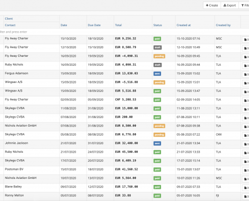 Invoices list with quick view of payment status
