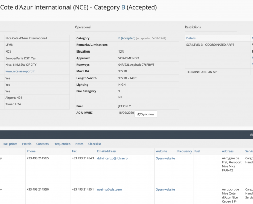 Airport profile page, that displays all airport details