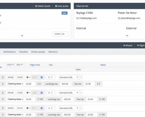 Flight sales software