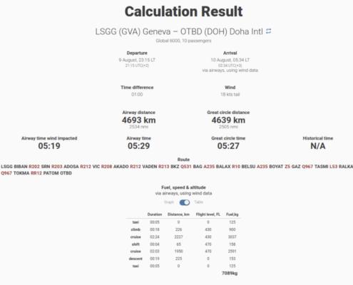 Calculation result from Aviapages Flight Calculator desktop website